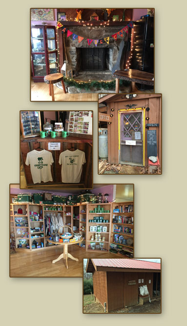 photos of the camp amenities - camp shop, firewood, showers